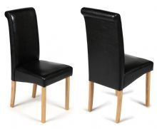Pair of Black Roma Faux Leather Chairs with Oak Legs 1/2 Price Deal
